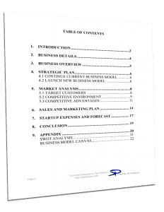 Feasibility Study Table of Contents